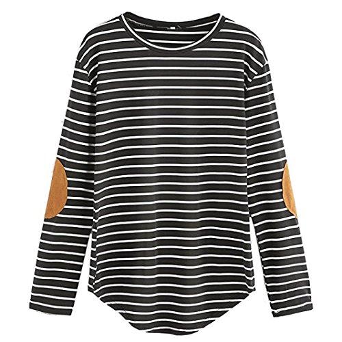 Manadlian Mode Damen Frauen Casual Lose Patchwork Langarm Streifen O Neck Tops Bluse T-Shirt in 4 Farben Lange Ärmel Bluse (M, Schwarz) (Lange Weste Baumwolle Ärmel)