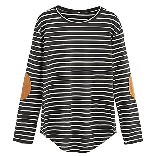 Manadlian Mode Damen Frauen Casual Lose Patchwork Langarm Streifen O Neck Tops Bluse T-Shirt in 4 Farben Lange Ärmel Bluse (M, Schwarz) (Henley Top Hooded)