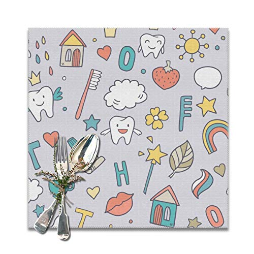 Rterss Zahnpasta Zahnbürste, Gesteppte Lippen, personalisierbare Tischsets, waschbar, rutschfeste Isolierung von 30,5 x 30,5 cm, 6 Stück -