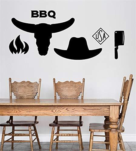 dekorative Wandaufkleber abnehmbare Charaktere American Barbecue BBQ Diner Restaurant Herd Feuerstier Kopf Hut und Messer