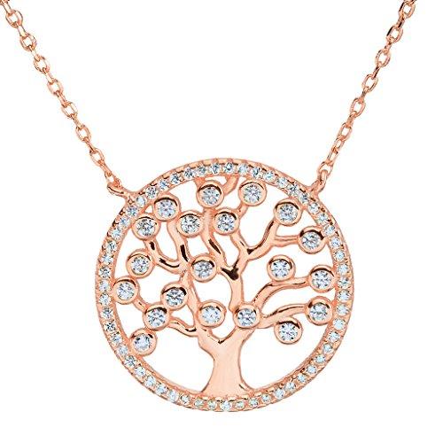 EVER FAITH® argento 925 CZ Albero Brillante di catena della collana del pendente vita trasparente in oro rosa placcato