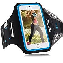 """Brazalete deportivo Con Soporte iPhone 7, zenmo Universal 4.7"""" Brazalete movil Ajustable para Llaves, Dinero y Auriculares, para iPhone 6/ 5s/ 5 y Samsung Galaxy S3 S4, perfecto para Running, Trotar, Gimnasio (Negro)"""
