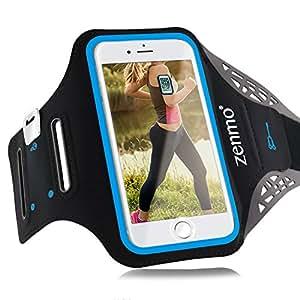 Fascia Da Braccio Sportiva iPhone 7, zenmo Universale 5.5'' Sport Armband Resistente all'Acqua con Portachiavi, Comparto Cavo per Palestra, Running, Jogging, per iPhone 6/ 6S/ 7 Plus, Samsung Galaxy S7/ S6, Huawei P9/ P8 ecc (Nero)