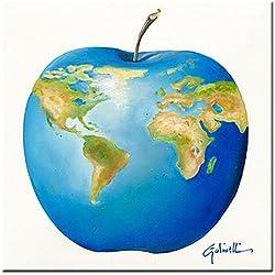 """The World in an Apple """"El mundo en una manzana"""" - imagen en vidrio acrilico, Paolo Golinelli, 30 x 30 cm, impresión digital directamente en vidrio, impresión artística de alta calidad, art print, fruta, atlas, manzana, cuadro listo para colgar"""