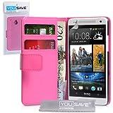 HTC One Mini Tasche Heiß Rosa PU Leder Brieftasche Hülle