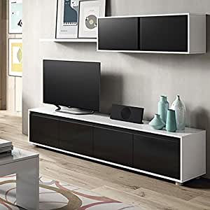 alida meuble tv mural 200 cm noir blanc high tech. Black Bedroom Furniture Sets. Home Design Ideas