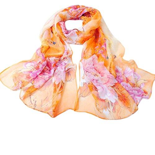 Distressed Weißen Handtuch Halter (Schal,WINWINTOM Chinesischen Stil Dame Long Wrap Frauen-Schal Chiffon Schal Schals (Gelb))