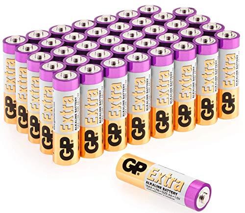 Batterie AA Alcaline - Confezione da 40 Pile Stilo da 1.5V della Serie GP Extra - prodotte da GP Batteries