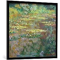 """Quadro con cornice: Claude Monet """"Nymphéas (Waterlilies)"""" - stampa artistica decorativa, cornice di alta qualità, 100x95 cm, nero / angolo grigio"""