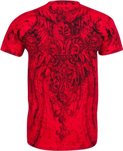 Sakkas Fleur de Lis Cross T-Shirt aus Baumwolle für Männer Türkis Rot