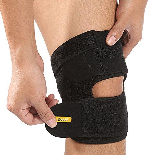 Doact Einstellbare Kniebandage, Klettverschluss und Open Patella Design, schont Meniskus, Patella und Bänder, Sport Knieorthese für Sport und Alltag - für Damen und Herren (L( Länge:21.5 INCH))