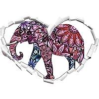 Elephant a forma di cuore ornamenti in Formato aspetto, parete o adesivo porta 3D: 92x64.5cm, autoadesivi della parete, decalcomanie della parete, Wanddekoratio