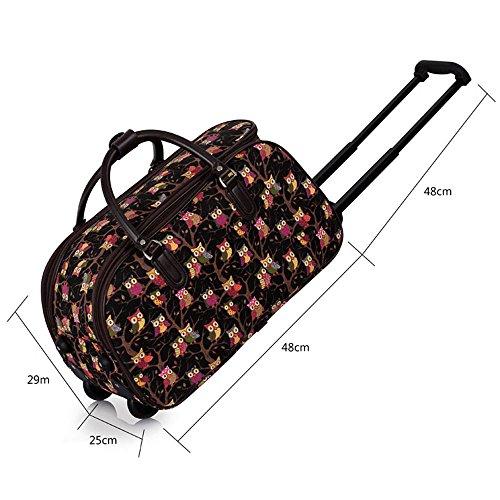 TrendStar Damen Reisetasche Taschen Handgepäck Frauen Schmetterling Wochenende rollig Handtasche A - Black
