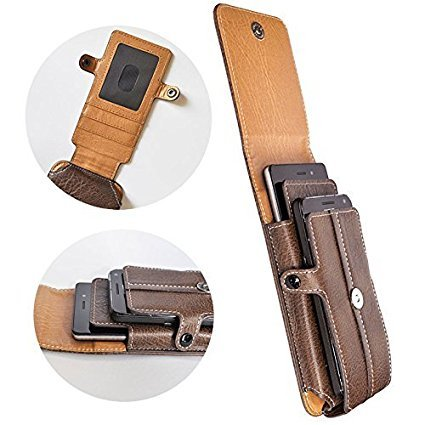 AXELENS COVER CASE VERTICAL HOLSTER POUCH FOR DOUBLE SMARTPHONE - Two Phones Case - BROWN LEATHERETTE - With Belt Loop, Carabiner and Magnetic Closure - UNIVERSAL - FAUX LEATHER - Card Compartment - For smartphones up to 5.5 inches - Phones up to 16 x 8 x 1,5