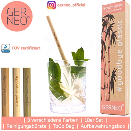 GERNEO - Goodbye Plastic - Wiederverwendbare Strohhalme aus Bambus - hell - 10er Pack - inkl. Schutzbox & to-Go Bag - aus der #Goodbye Plastic Kampange