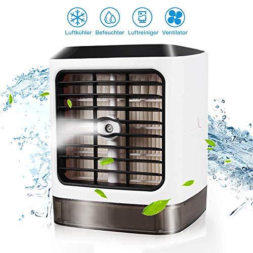Mini-Condizionatore Portatile, Condizionatori a Evaporazione 3 in 1:Raffreddamento, Spray umidificante, Purifica l'Aria. USB Portatile Personali Climatizzatore, Perfetto per Casa - Ufficio - Campe