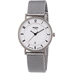 Boccia Boy's Quartz Watch with White Dial Analogue Display and Silver Titanium Bracelet B3154-07
