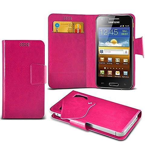 (Hot Pink) Samsung I8700 Omnia 7 Super dünne Kunstleder Saugnapf Wallet Case Hülle mit Credit / Debit Card SlotsBy