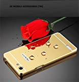 AE Mobile Accessories Luxury Metal Bumper + Acrylic Mirror Back Cover Case For Oppo Neo 7 Gold