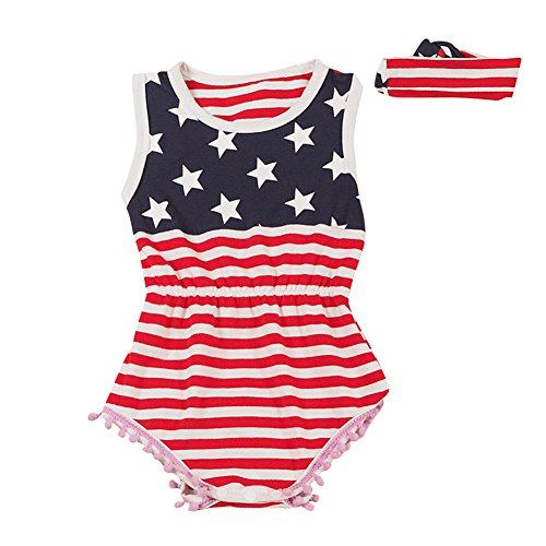 Le SSara Neugeborenen American Flag Strampler Baby Body Kostüm Outfit Haarband 2 Stück (18-24 Monate)