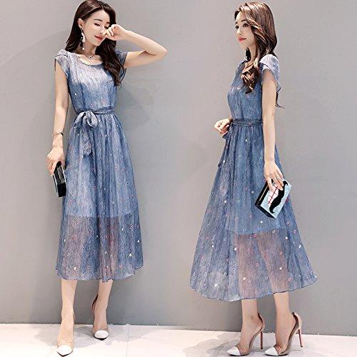 Tiankai007 Damen Chiffon - Kleid, Mit Rundem Hals Kleid, Wie Dünn, Kurzärmeliges Lange Chiffon - Kleid,M