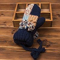 ajunt de invierno–Mode Color lana tejer guantes niedliche peinado Ball colgar Cuello verdickung Guantes calientes Guantes dedos frías, azul