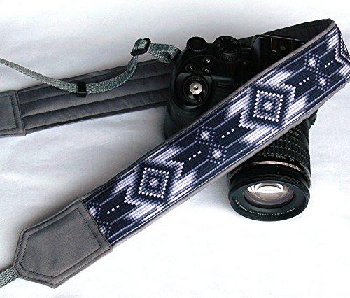 nativi-americani-camera-strap-inspired-cinghia-per-fotocamera-dslr-nero-bianco-grigio-cinghia-per-fo
