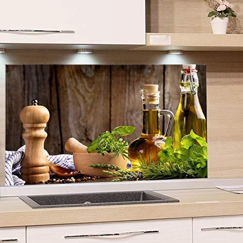 GRAZDesign Spritzschutz Glas für Küche Herd, Bild-Motiv grün Kräuter Provinz mediterran, Küchenrückwand Glas Küchenspiegel Glasrückwand / 100x50cm