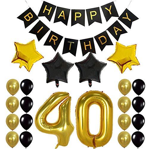 Crazy-M 40th Geburtstag Deko Set Nummer 40 Luftballon Geburtstag Party Deko für Männer Frau -2 STK Zahl 40 Aufblasbar Helium Folienballon+1 Happy Birthday Banner + 16 Latexballon + 4 Stern Ballon