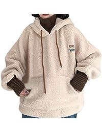 Alwayswin Frauen Herbst/Winter Hoodie Sweatshirt Teddy-Fleece Kapuzenpullover Plüsch Warmer Pullover Einfarbig Bequem Lässig Kapuzenpulli Mode Lose Pulli Gefälschte Zweiteilige Bluse