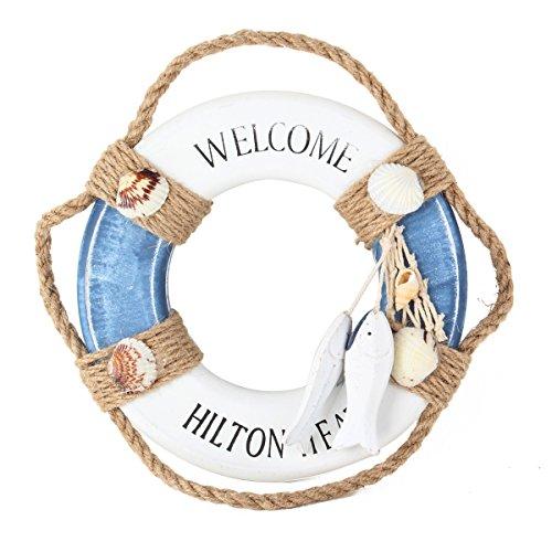 au und Weiß Maritime Rettungsring Welcome on Board Schwimmring UniqueBella Luxus Blau und Weiß Maritime Rettungsring Welcome on Board Schwimmring Weihnachten Geschenk Xmas Gift (Marine Corps Dekorationen)