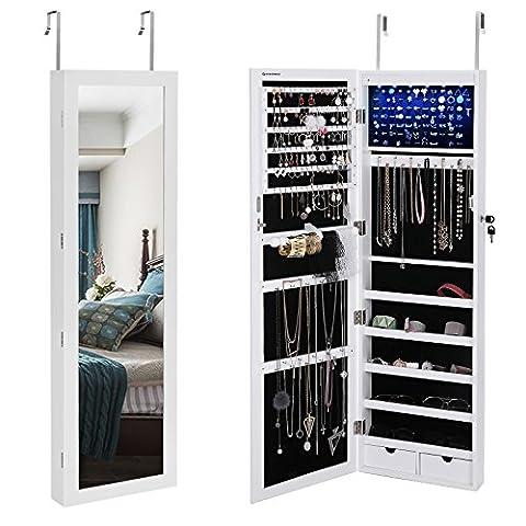 Songmics LED Jewellery Cabinet Lockable Wall/Door-Mount 2 Drawers White JBC93W