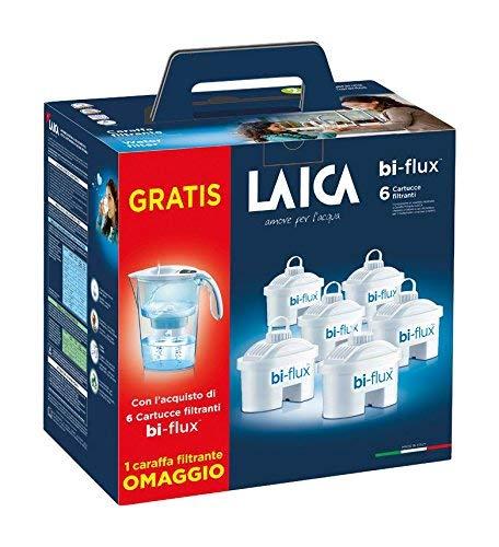 Laica J996 Kit 6 filtri + Caraffa Filtrante Stream Line, Colori Assortiti 2 spesavip