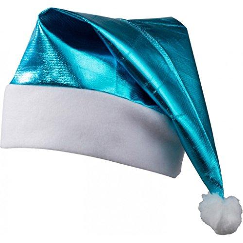 nde Nikolausmütze mit weißem Umschlag und Pompon (turquoise) (Vlies Nikolausmütze)