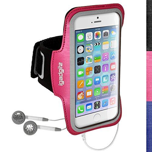 igadgitz Reflektierenden Anti-Rutsch Pink Sports Jogging Armband Laufen Fitness Oberarmtasche für Apple iPhone 6 & 6S 4.7 Zoll Mit Schlüsselfach