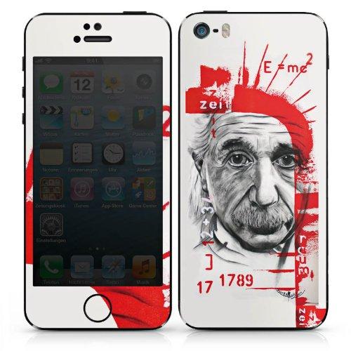 Apple iPhone SE Case Skin Sticker aus Vinyl-Folie Aufkleber Albert Einstein Zeichnung Art DesignSkins® glänzend