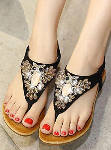 dqq femmes de cheville sangle String Perles Wedge Sandal Noir