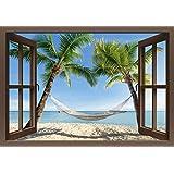 Artland Pegatinas Pared De Tela No Tejida o vinilo de pantalla eyetronic Ventana Visión–vacaciones en la playa de palmeras en el caribe con hamaca Paisajes América Caribe fotografía Azul, vinilo, azul, 90x130 cm / Vinyl