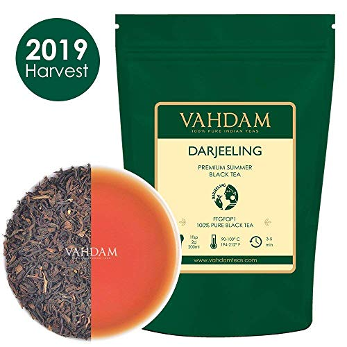 VAHDAM, 2019 Harvest - Darjeeling Black Tea Leaves from Himalayas, (120+ Cups) 255g | 100% Certified Pure Unblended Darjeeling Tea | FTGFOP1 Grade Loose Leaf Tea | Packed & Shipped from India