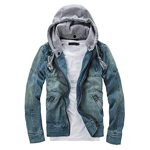 TWBB Herren Abnehmbarer Hoodie Kapuzenpullover Pullover Demin Mantel Mit Reißverschluss Outwear Sweatshirt Langarm Top