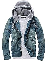 acea073b3d6a Homme Veste en Jean Délavé Bleu Moyen,Overdose Automne Hiver Manteau Skinny  Vintage Jeans Jacket