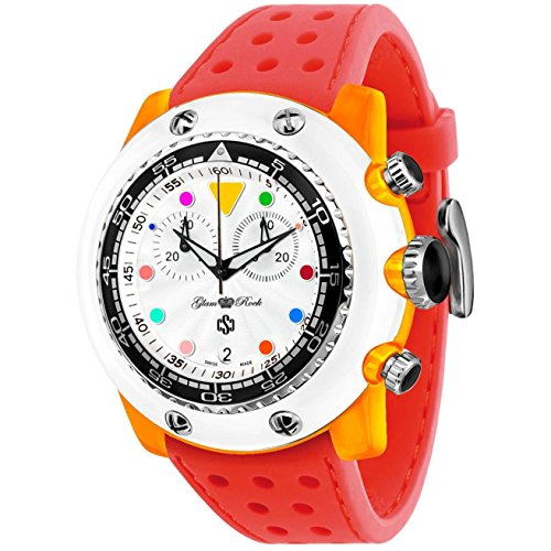 Glam Rock Men's Miami Beach 50mm Red Silicone Band Polycarbonate Case Quartz White Dial Watch GR20150