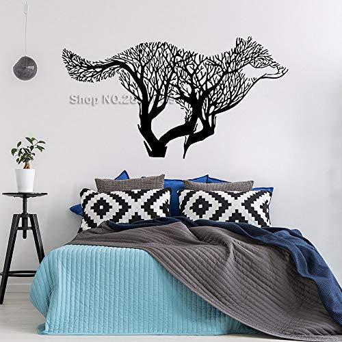 Ajcwhml Tattoo Applique Wolf Baum modellierung wandaufkleber Vinyl Dekoration kreative wandbilder 77 cm x 42 cm (Modellierung Von Bäumen)