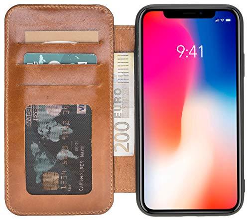Solo Pelle kompatibel mit dem iPhone XS Max Hülle Case Lederhülle Ledertasche Wallet Tasche in Cognac Braun Burned Walletbook Case