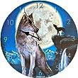 Wanduhr Blue Moon by David Penfound Wolf Figur Uhr