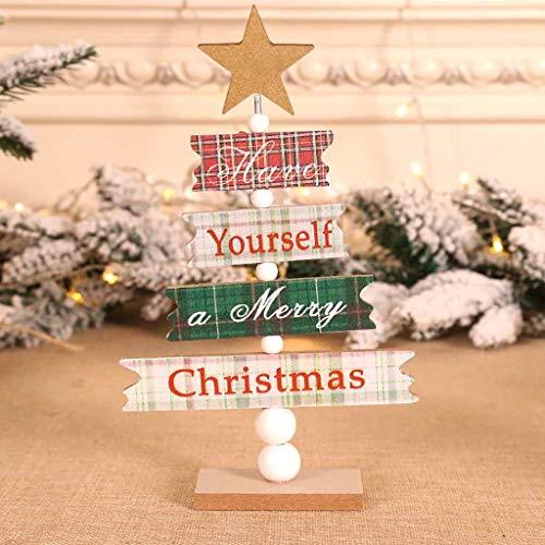 VICKY-HOHO Holz Mini Weihnachtsbaum Desktop Ornamente Frohe Weihnachten Party Dekor