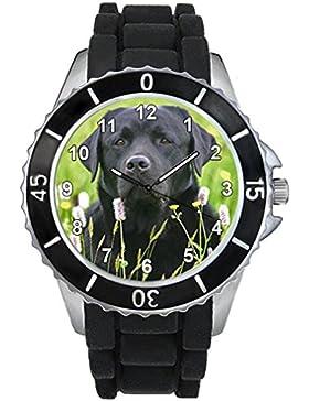 Black Labrador Motiv Uhr Unisex mit Silikonband