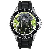 Timest - Black Labrador - Motiv Uhr Unisex mit schwarzem Silikonarmband Rund Analog Quarz CSE018