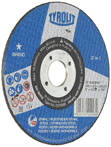 Tyrolit 222998 Trennscheibe, Basic, Durchmesser 125 mm, Stärke 2,5 mm, Stahl/Inox, 2in1 (25-er Pack)