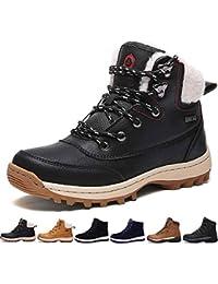 a25a8c216a991 SIXSPACE Botte Homme Neige Hiver Caoutchouc Chaussures de Chaude Fourrees  Mode Bottine Femme en Cuir Boots